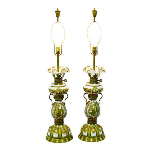 Vintage Hand Painted French Opaline Glass Table Lamps - A Pair