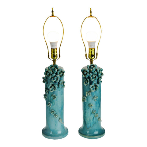 Vintage Drip Glaze Ceramic Table Lamps w/ Floral Appliques - A Pair
