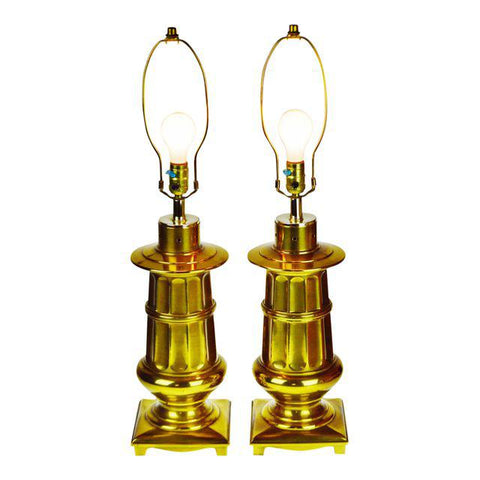 Vintage Neoclassical Brass Table Lamps - A Pair