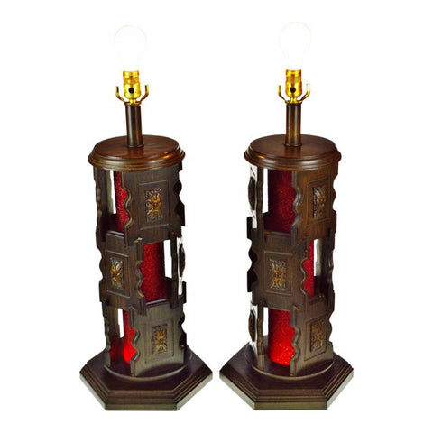 Mid Century Nova of California Reticulated Wood Table Lamps - A Pair