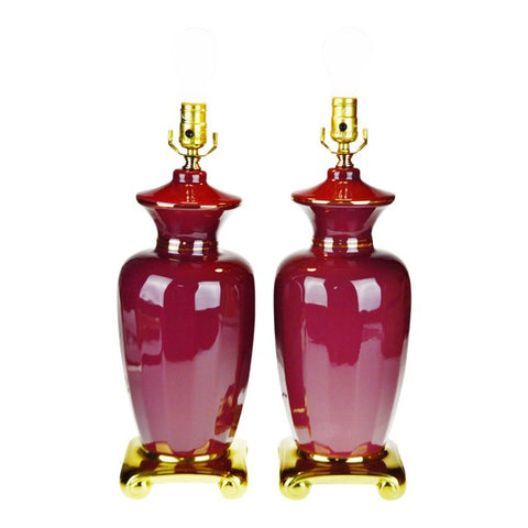 Vintage Asian Style Burgundy Porcelain Table Lamps - A Pair