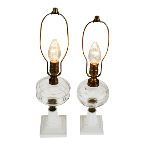 Vintage Electrified Oil Lamps with Milk Glass Base - Group of 2