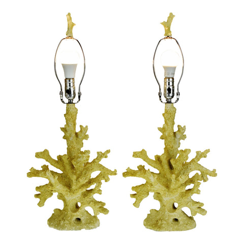 Vintage Faux Coral Table Lamps - A Pair