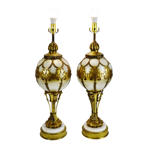 Vintage Large Scale Hollywood Regency Reverse Painted Glass Table Lamps - A Pair