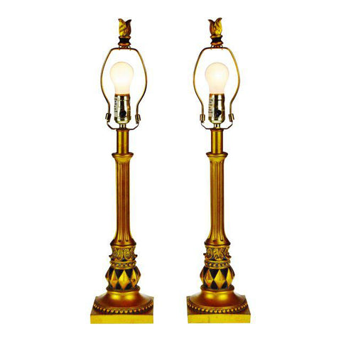 Modern Gold Gilt and Black Candlestick Table Lamps - A Pair