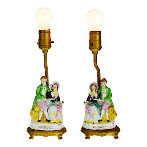 Vintage Figural Boudoir Table Lamps - A Pair