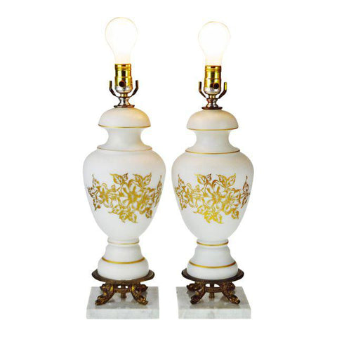 Vintage Satin Glass Cornell Table Lamps with Marble Base - A Pair