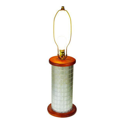 Early Gold Bond Stamps Roller Table Lamp with Wood Base