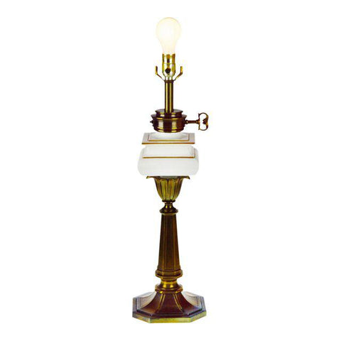 Vintage Stiffel White Porcelain and Brass Table Lamp
