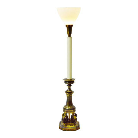 Vintage Stiffel Torchiere Table Lamp with Milk Glass Diffuser