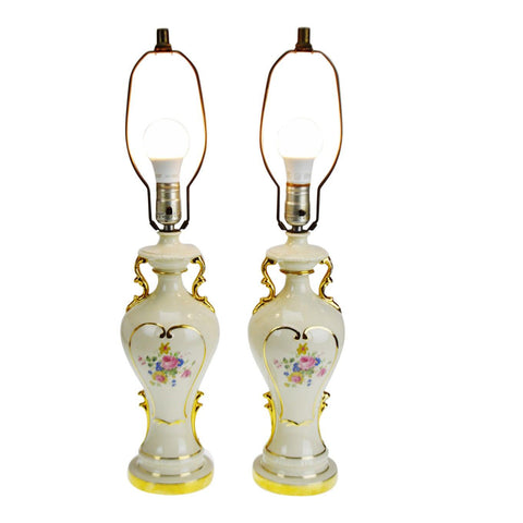 Vintage Victorian Style Ceramic Gold Gilt Handled Table Lamps - A Pair