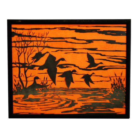 Vintage Professionally Framed Black on Blaze Orange Water Fowl Artwork