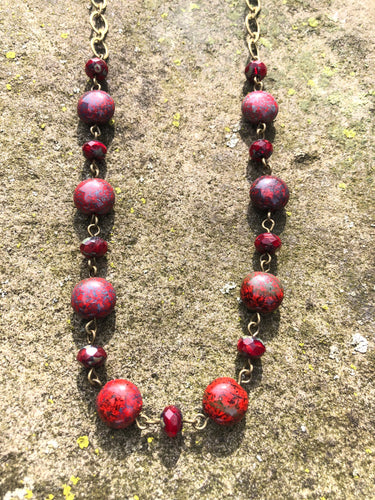 Crimson Red Glass Necklace