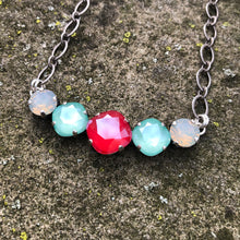 Mint Green + Royal Red Necklace