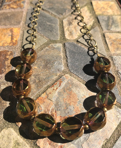 Olive Green Coin Necklace