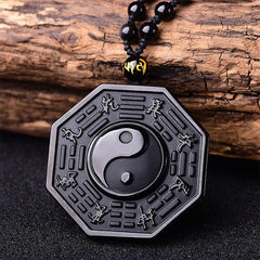 8 Auspicious Symbols - Black Obsidian Yin and Yang Positivity Necklace