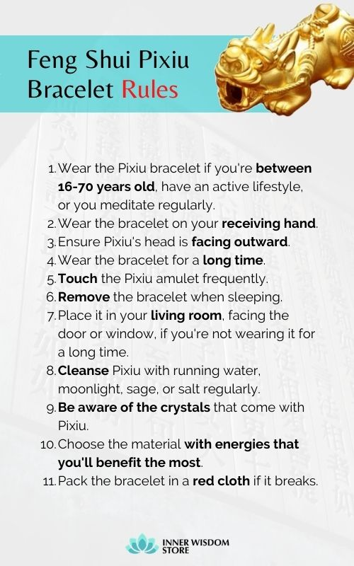 how to wear pixiu bracelet - feng shui bracelet rules
