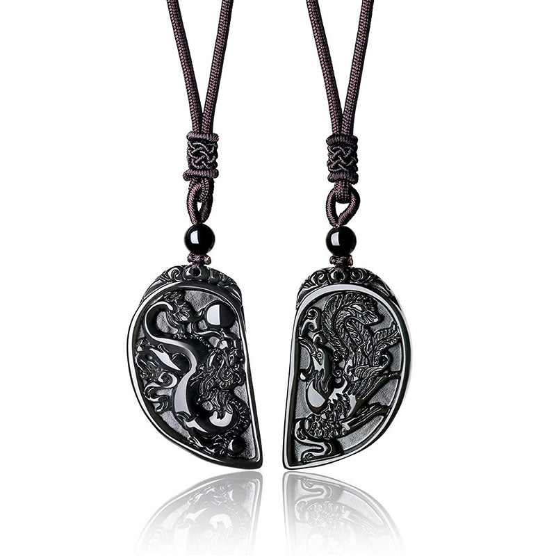 Dragon and Phoenix Obsidian Balancing Necklace - Necklace - Inner Wisdom Store