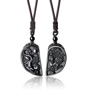 Dragon and Phoenix Obsidian Balancing Necklace