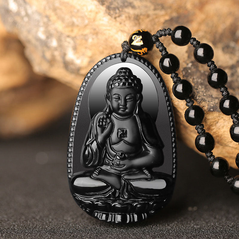 Black Obsidian Buddha Protection Necklace - Necklace - Inner Wisdom Store