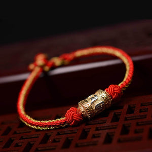 Om Mani Padme Hum Mantra Silver Lucky Red String Bracelet