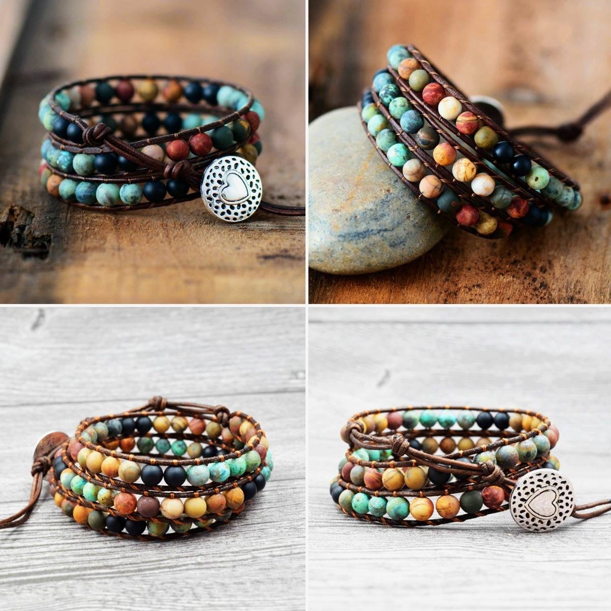 Bohemian Natural Agate Beaded Love Bracelet