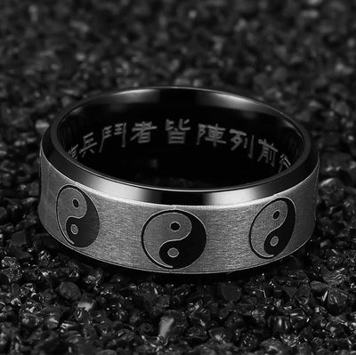 Custom Yin Yang Ring With Chinese Engravings - Ring - Inner Wisdom Store