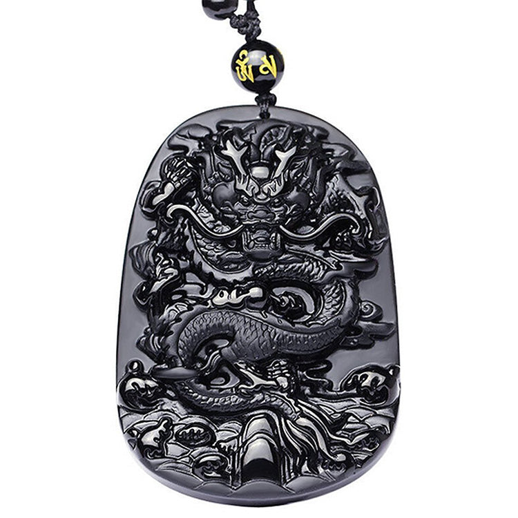 Obsidian Dragon Success Necklace