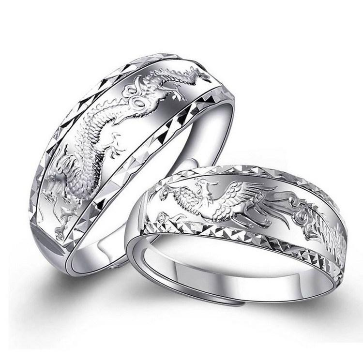 Silver Dragon Phoenix Couple Ring - Ring - Inner Wisdom Store