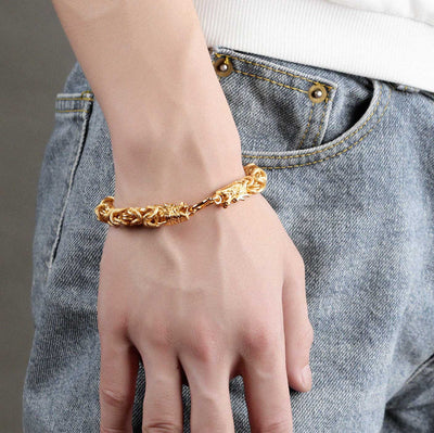 Double Headed Golden Dragon Bracelet - Bracelet - Inner Wisdom Store