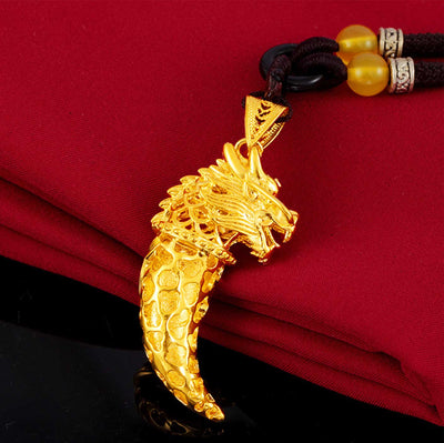 Lucky Golden Dragon Wolf Tooth Pendant Necklace - Necklace - Inner Wisdom Store