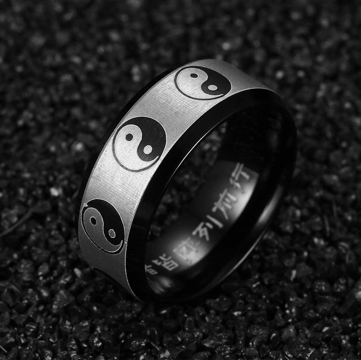 Custom Yin Yang Ring With Chinese Engravings