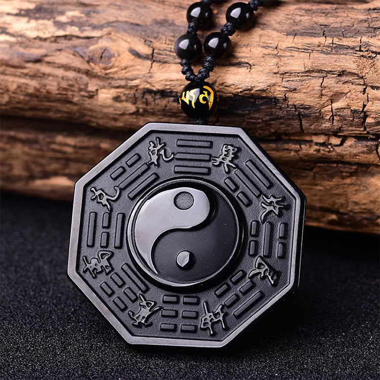 Black Obsidian Yin and Yang Positivity Necklace