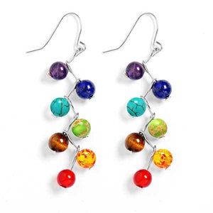 7 Chakra Natural Stone Earrings