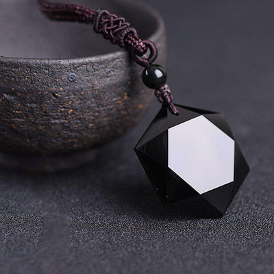 Six-Pointed Star Black Obsidian Protection Necklace