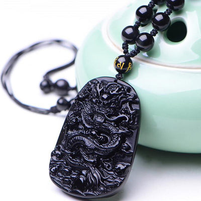 Obsidian Dragon Success Necklace - Necklace - Inner Wisdom Store