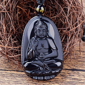 Black Obsidian Buddha Protection Necklace