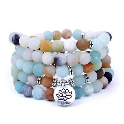 BUDDIST AMAZONITE LOTUS MALA BEADS