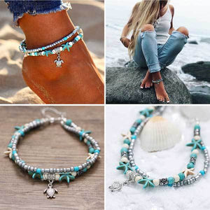 Bohemian Starfish Shell Beads Turtle Anklets