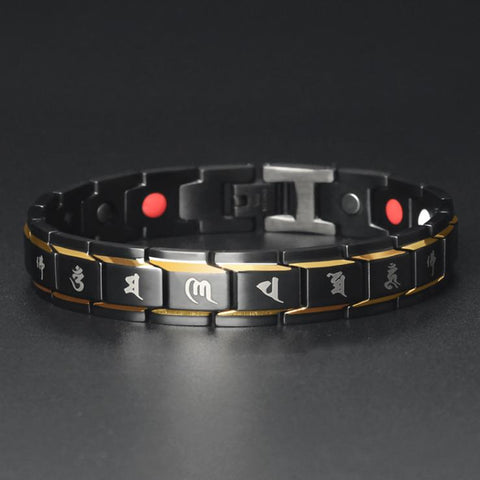 Image of Mani Mantra Titanium Magnetic Therapy Bracelet - Mint & Dream