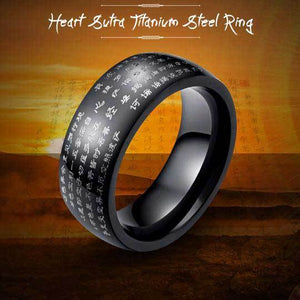 Heart Sutra Titanium Steel Ring