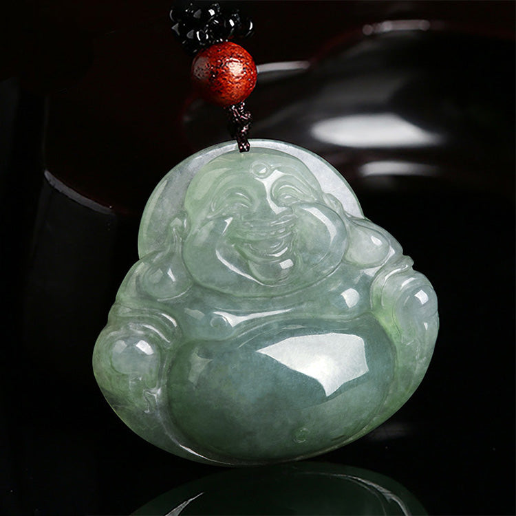 Laughing Buddha Jade Happiness Necklace