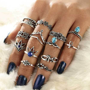 Lotus Unicorn Bohemian Ring Set