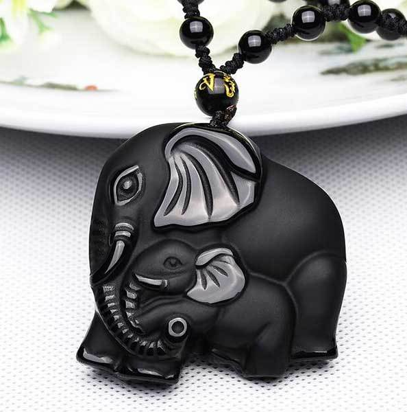 Black Obsidian Elephant Family Pendant Necklace