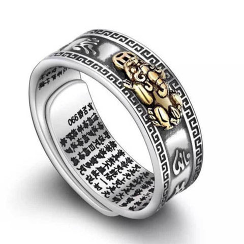 Image of Feng Shui Pixiu Mani Mantra Protection Wealth Ring