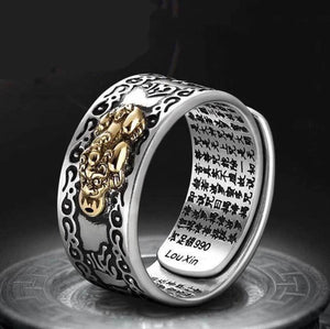 Feng Shui Pixiu Mani Mantra Protection Wealth Ring