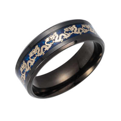 Lucky Chinese Dragon Inlay Ring - Ring - Inner Wisdom Store