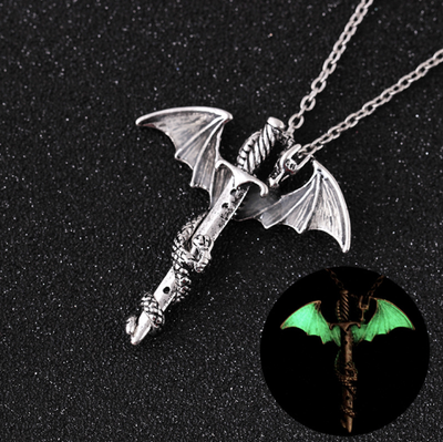Glowing In The Dark Dragon Sword Necklace - Mint & Dream