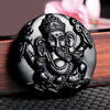 Obsidian Ganesha Necklace