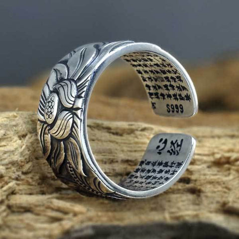Image of Silver Lotus & Heart Sutra Ring